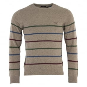 Gant Donegal Multi Stripe Crew Neck Jumper