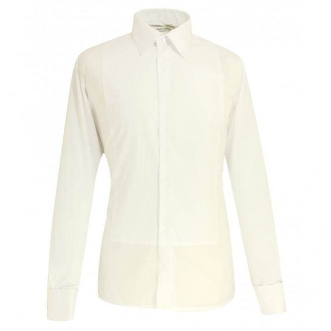 David Latimer Plain Collar Concealed Buttons Pleated Dress Shirt