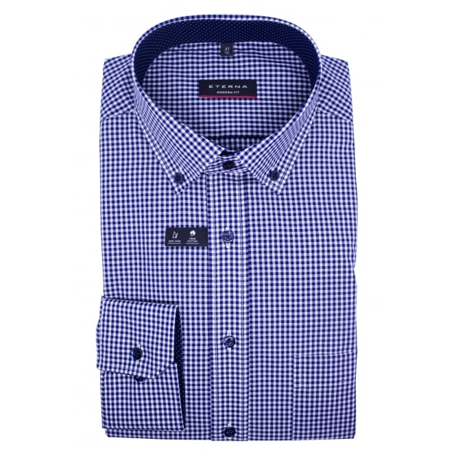 Eterna Button Down Checked Shirt | Modern fit