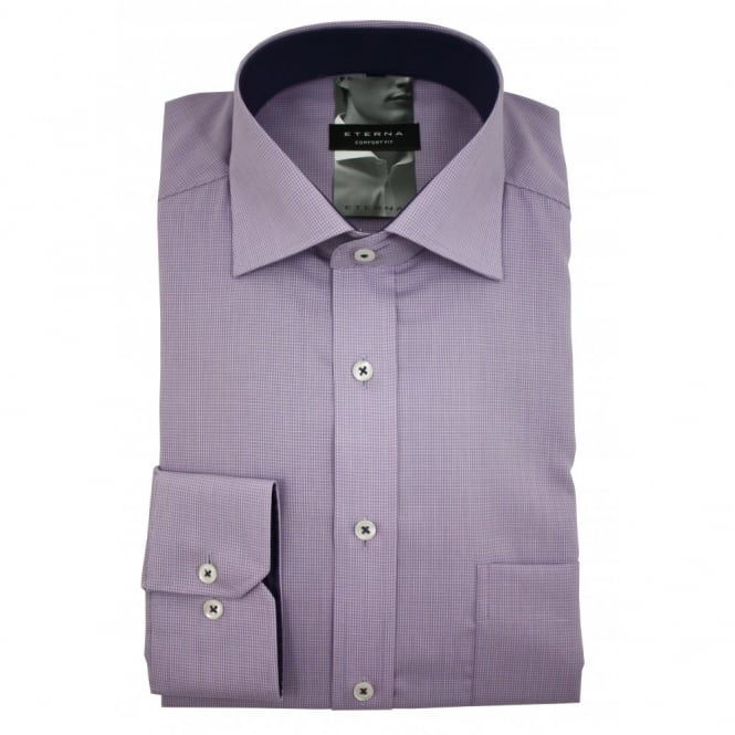 Eterna Mini Check Shirt | Comfort Fit