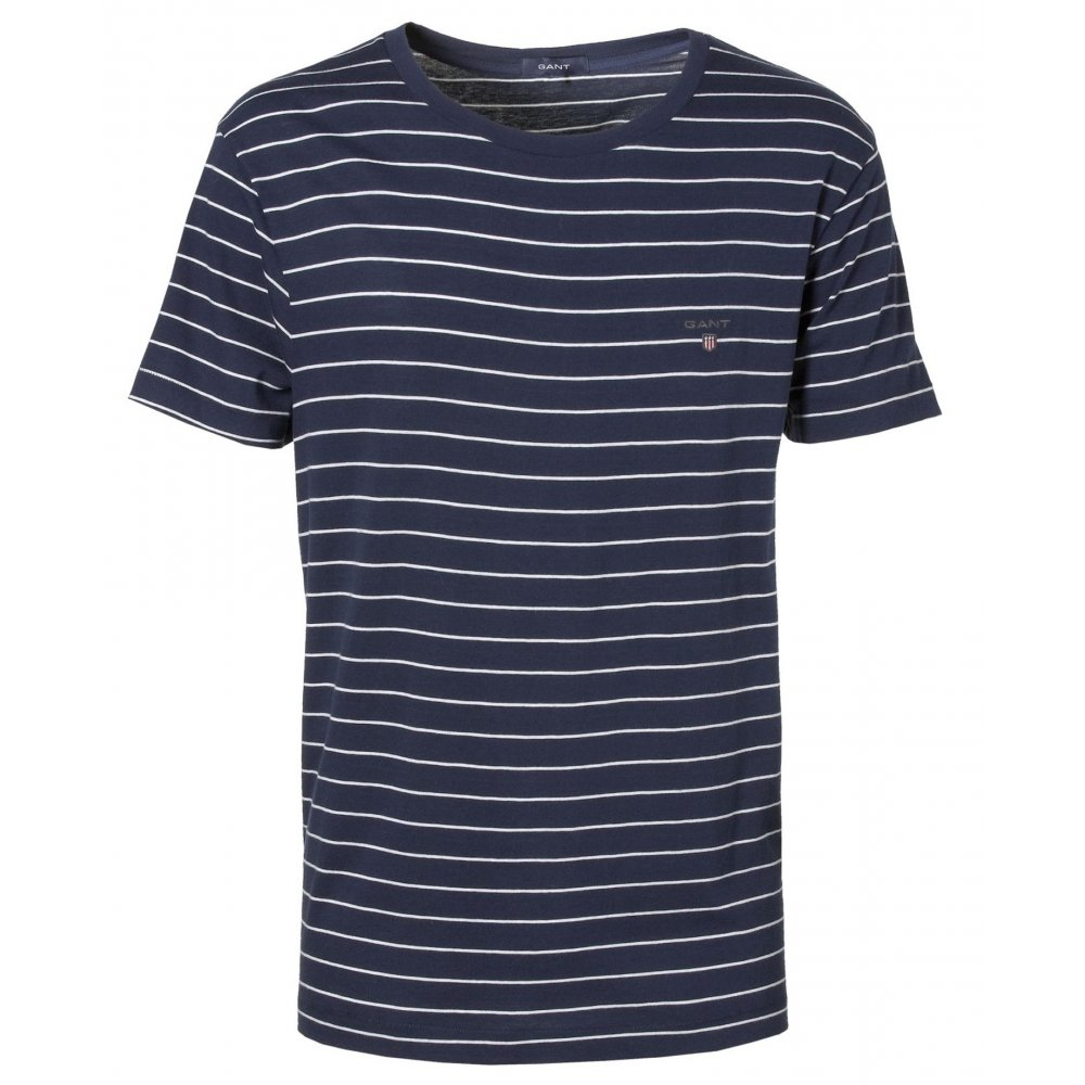 gant breton stripe crew neck t shirt t shirts from gibbs. Black Bedroom Furniture Sets. Home Design Ideas