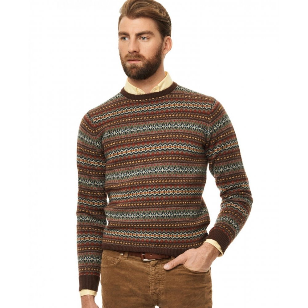 Gant Lambswool Multi Fairisle Crew Neck Sweater - Knitwear from ...
