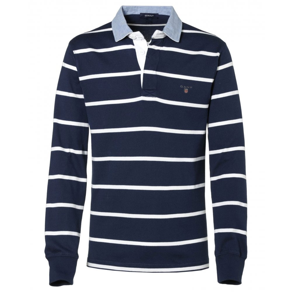 gant white breton stripe rugby shirt rugby shirts from