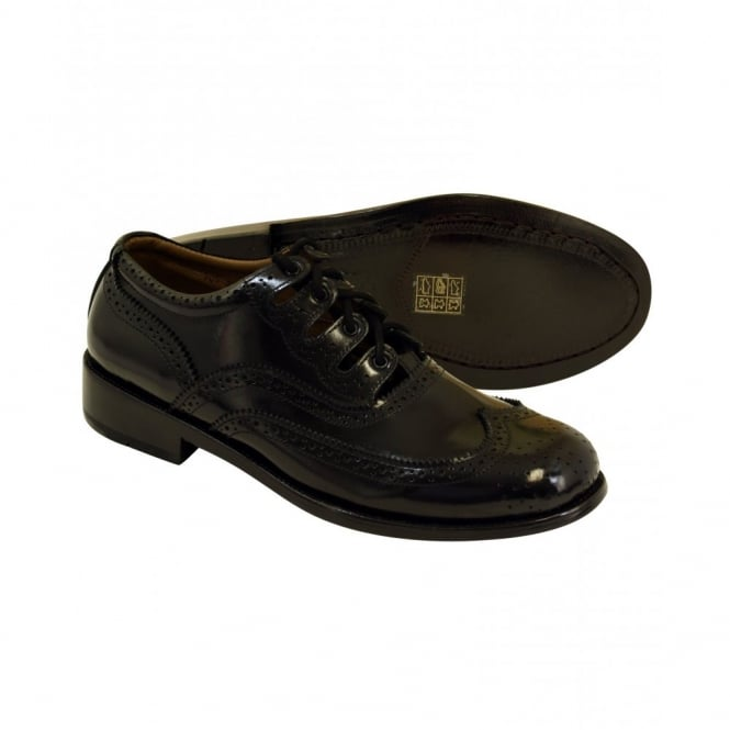 Jamie Alexander Black Blake Stitched Sole Ghille Brogues