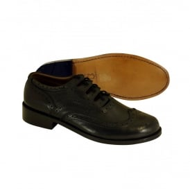 Black Pebble Grained Leather Ghille Brogues