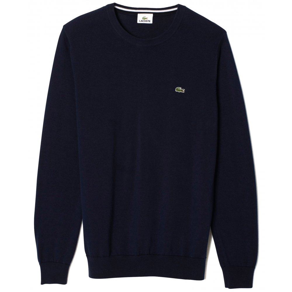 lacoste plain crew neck sweater knitwear from gibbs menswear uk. Black Bedroom Furniture Sets. Home Design Ideas