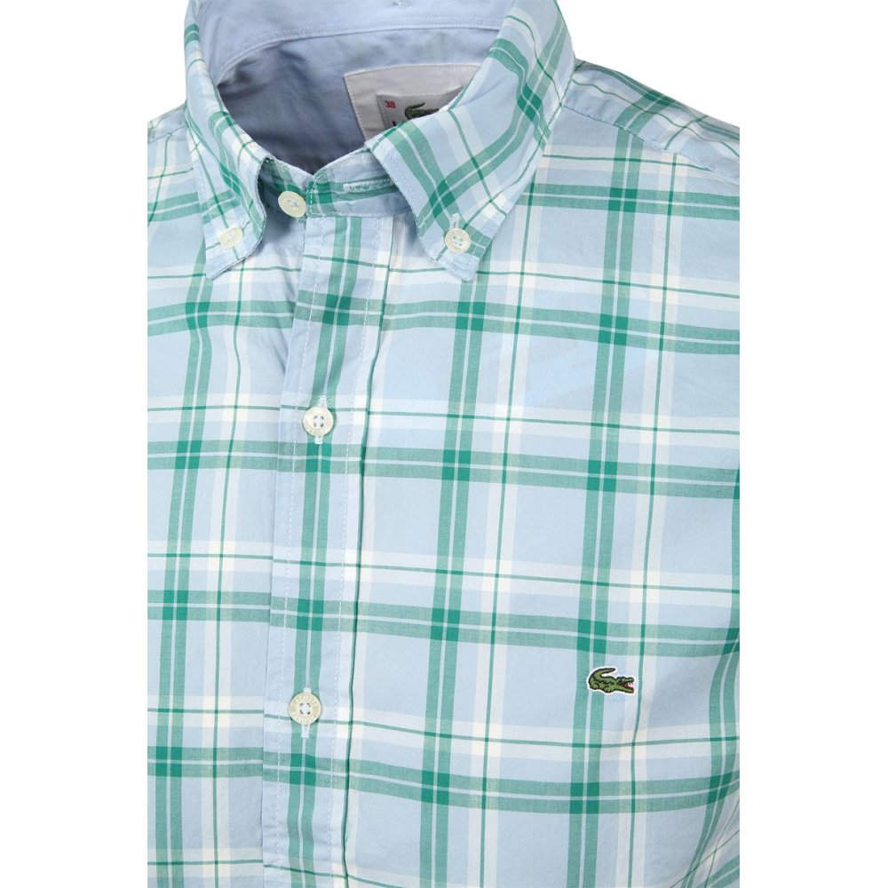 Lacoste regular fit checked short sleeve shirt lacoste for Short sleeve lacoste shirt