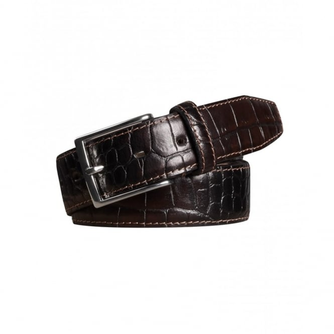 Meyer Stretch Leather Crocodile Pattern Belt