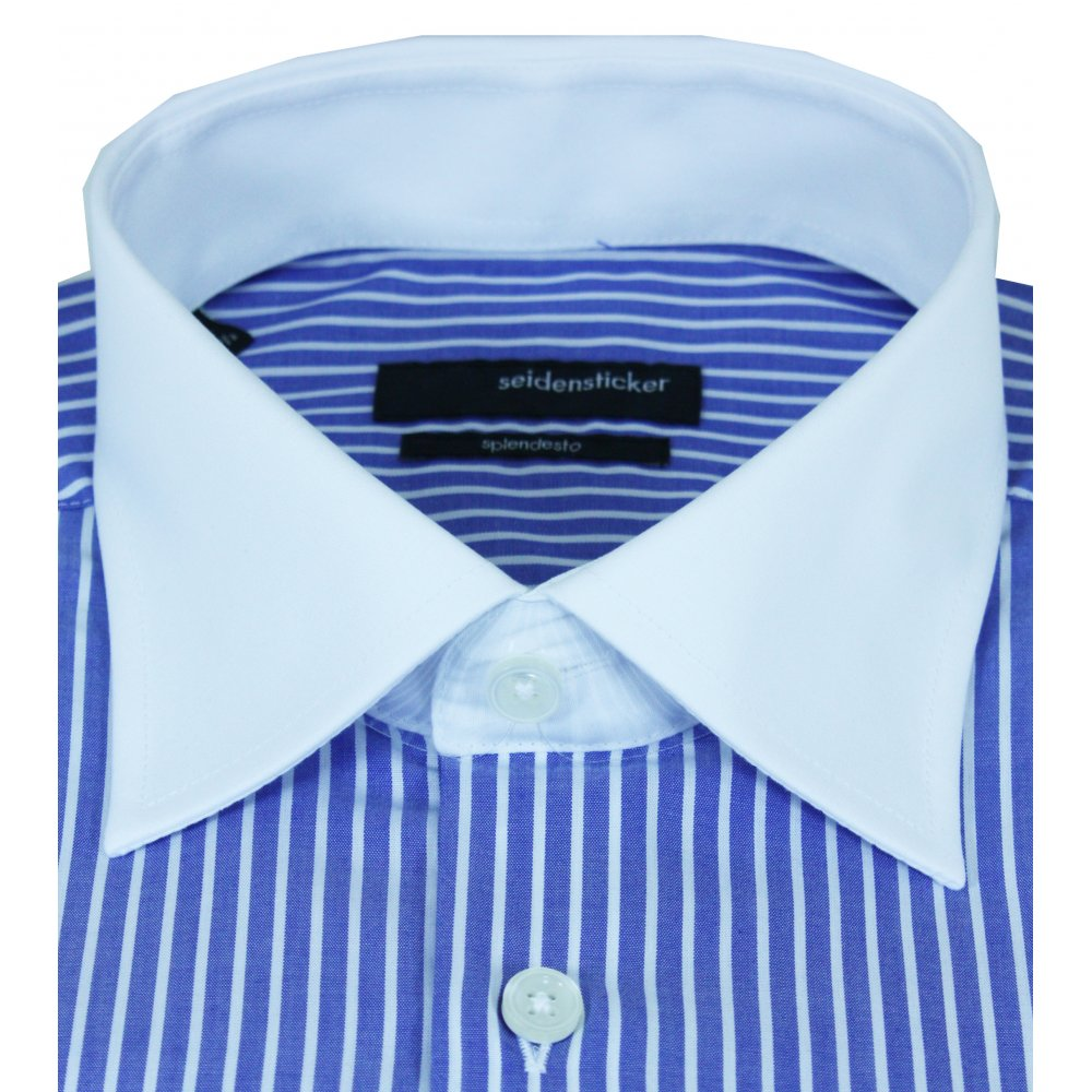 Seidensticker seidensticker splendesto white collar and for Blue and white striped shirt with white collar